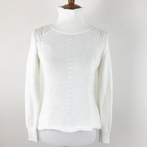 WHBM Sweater Turtleneck Small Metallic Cut Out